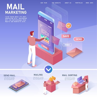 Концепция уведомлений по электронной почте. рекламная рассылка. шаблон целевой страницы. изометрическая иллюстрация.