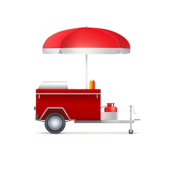 Mobile fast food shop, isolated on white background.