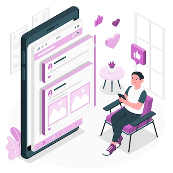Mobile feed concept illustration