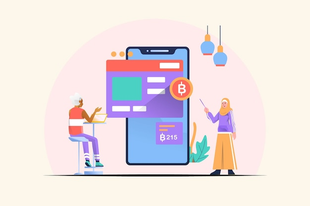 Mobile financial concept illustration