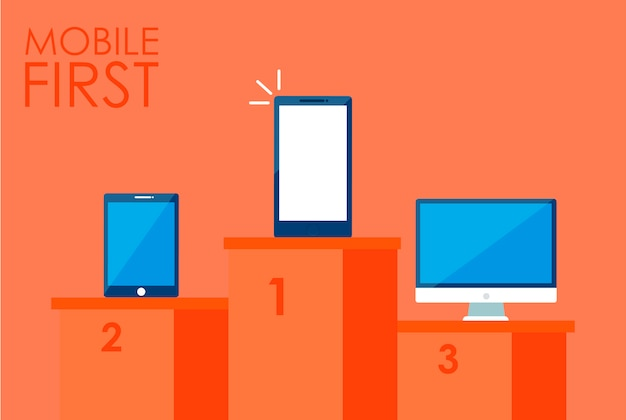 Mobile first strategy banner. phone with laptop and other.