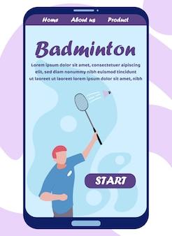 Mobile flat landing page invite play badminton