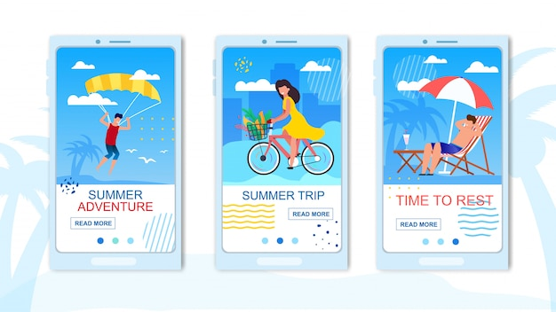 Mobile flat landing page for travel application. summer parasailing adventure