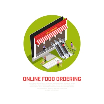 Mobile food oedering concept with online purchase symbols isometric