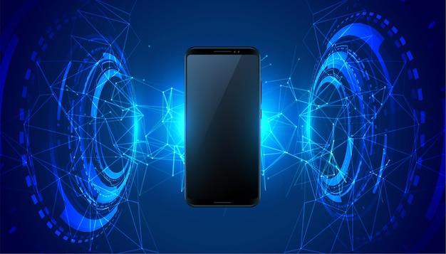 Fondo di concetto di tecnologia futuristica mobile