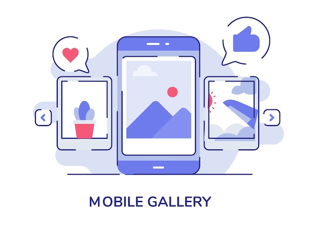 Mobile gallery picture on display smartphone screen