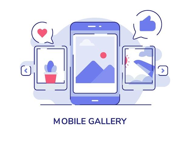 ディスプレイスマートフォン画面上のモバイルギャラリー画像
