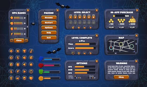 Графический пользовательский интерфейс мобильной игры. дизайн, кнопки и значки.