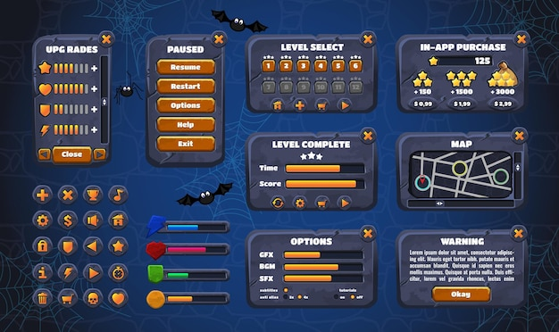 Mobile game graphical user interface gui. design, buttons and icons.