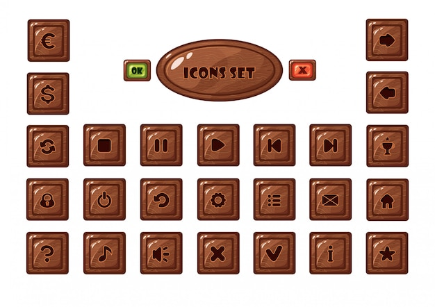 Mobile game square wooden buttons set