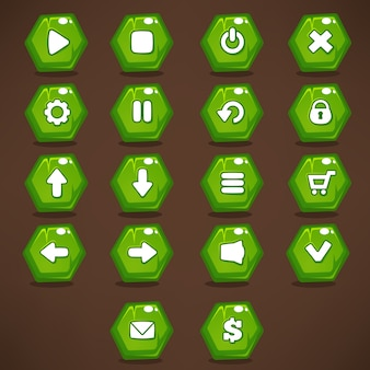 Mobile game ui,  collection of  bright, shine and cartoon green icons, and buttons