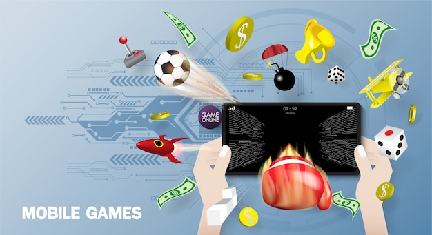 Mobile games playing on smart phone screen 3d