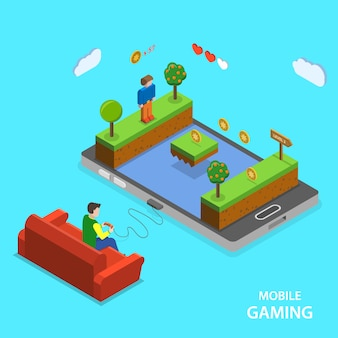 Mobile gaming flat isometric  concept.