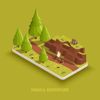 Composizione isometrica nel gioco mobile con il personaggio del gameplay di avventura alla ricerca di uno scrigno del tesoro nell'illustrazione della posizione all'aperto