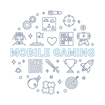 Mobile gaming  round illustration in outline style