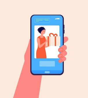 モバイルギフトサービス。電話、デジタルオンラインストアでプレゼントを購入します。画面にボックス小包を保持している女性。フラット配信アプリのベクトル図。配達購入、休日購入への注文