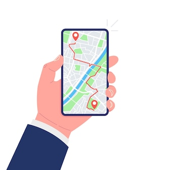 Мобильная gps-навигация и концепция слежения. рука смартфон с дорожкой карты города и меткой местоположения на экране.