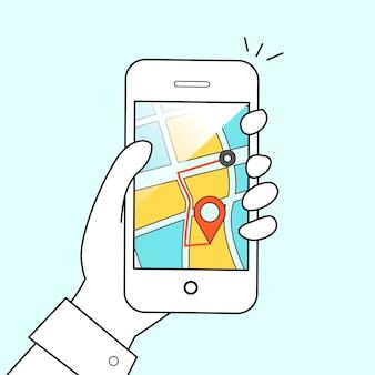 Концепция мобильной gps-навигации: мужчина держит смартфон в плоской конструкции