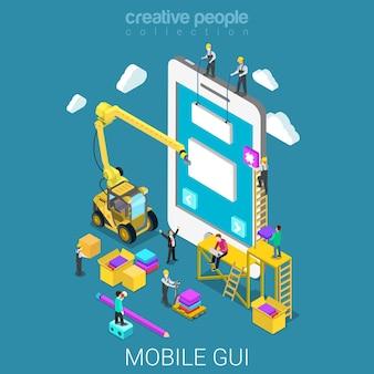 Mobile gui prototype flat isometric
