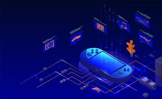 모바일 핸드헬드 비디오 게임 콘솔 벡터 아이소메트릭 그림 휴대용 게임 장치