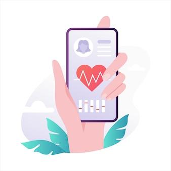 モバイルヘルスケア。現代のテクノロジーのアイデア。ハートチェック