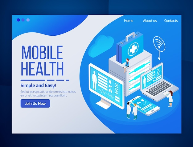 Mobile health care telemedicine glow isometric web page  with medical tests laptop tablet phone screens