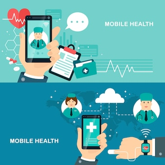 Mobile health flat design illustration track your health condition through devices