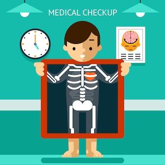 モバイルヘルスmhealth、モバイルデバイスを使用する患者の診断とモニタリング。医療とケア、デジタルとx線。ベクトルイラスト