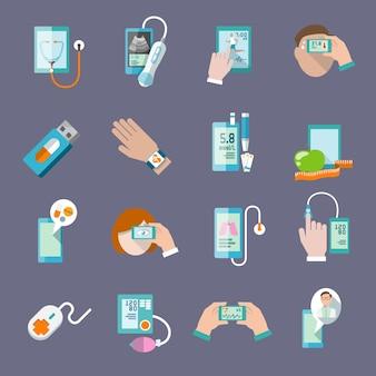 Мобильный здравоохранения онлайн-аптеки компьютерной диагностики иконки плоский набор изолированных векторной иллюстрации