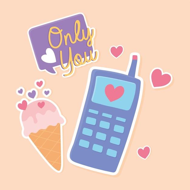 Мобильное мороженое и украшение сообщения стикер в мультяшном стиле