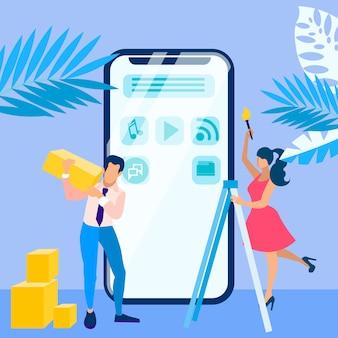 Mobile interface development process illustration