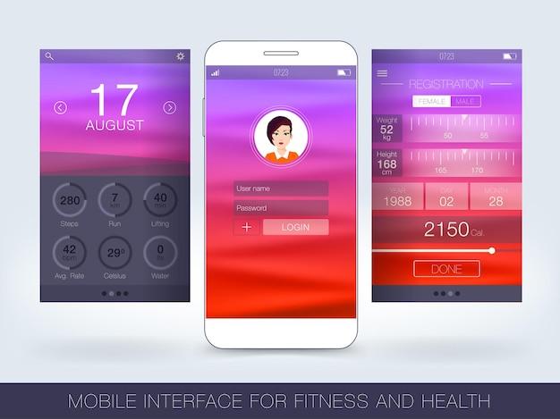 피트니스 및 건강 회계를 위한 모바일 인터페이스. 터치스크린의 피트니스 앱 개념입니다.