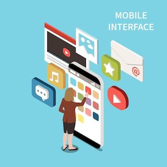 Illustrazione isometrica dell'interfaccia mobile
