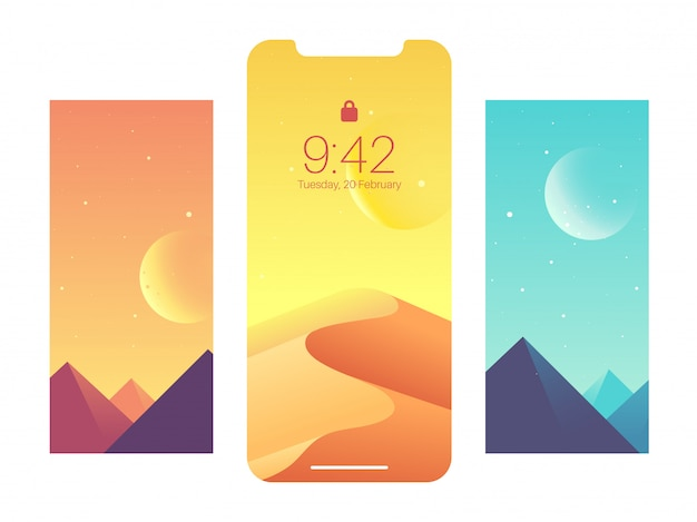 Mobile interface wallpaper design with nature view.