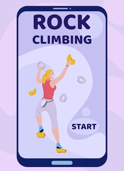 Mobile landing page advertising rock climbing