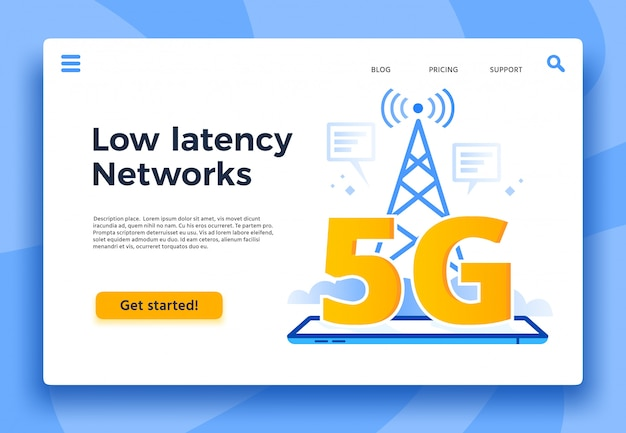 モバイルのランディングページ。高速インターネット接続、低遅延ネットワーク、通信ネットワークカバレッジイラスト