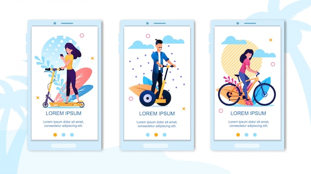 Mobile landing page happy active vacation time set