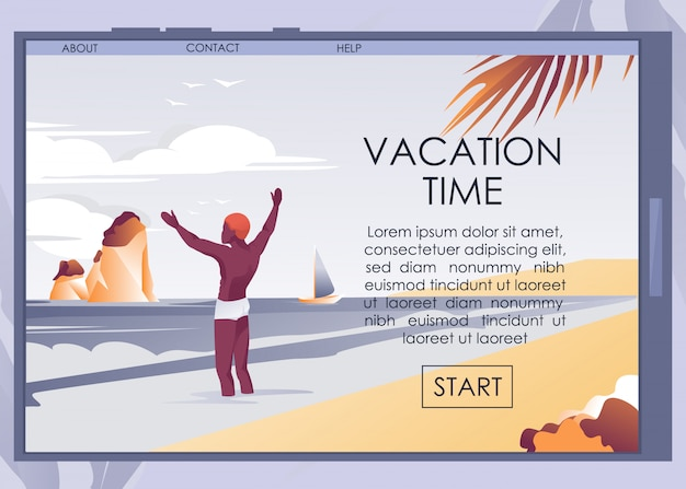 Mobile landing page offering vacation on seacoast