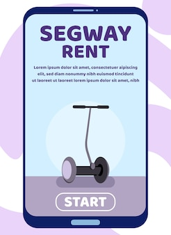 Mobile landing page for segway rent advertisement