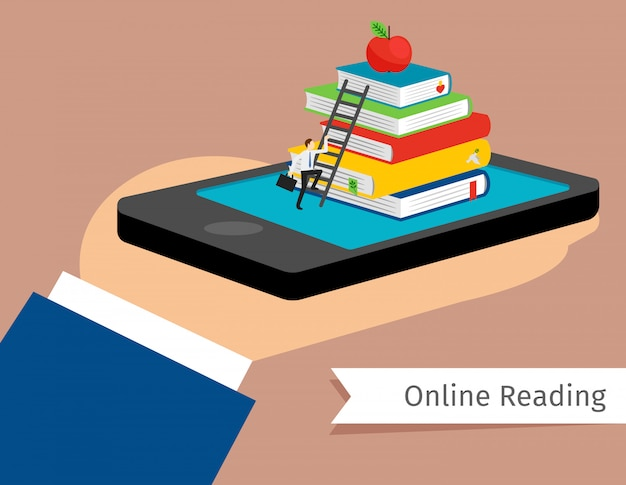 Mobile library in smartphone vector illustration