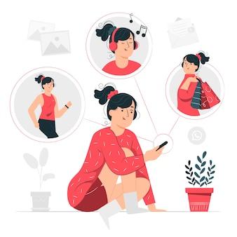 Illustrazione di concetto di vita mobile