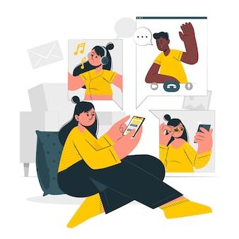 Mobile life concept illustration