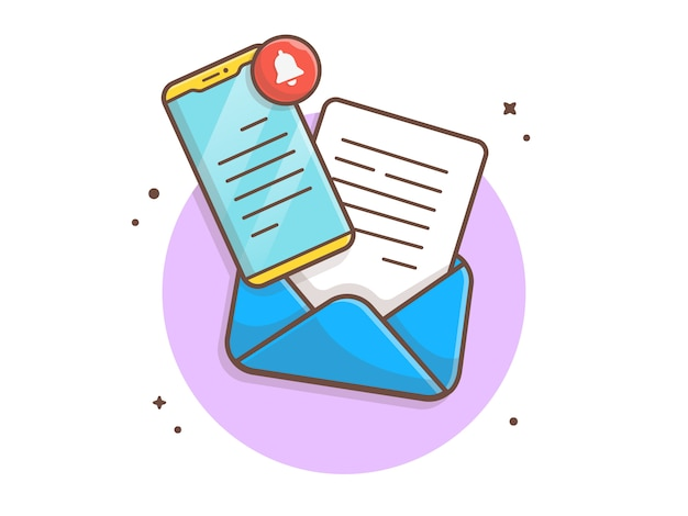 Mobile mail message  icon illustration