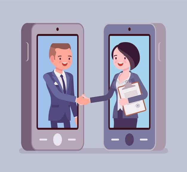 モバイルの男性と女性の取引、商業ビジネス契約