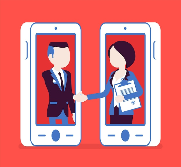 Mobile male, female deal, commercial business agreement