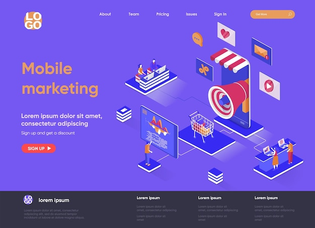 Mobile marketing agency 3d isometric landing page illustration with people characters