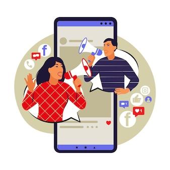 Mobile marketing concept. e-commerce, internet advertising, promotion. vector illustration. flat.