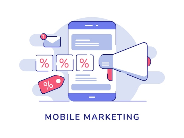 Mobile marketing concept megaphone percent sale on display smartphone screen with flat outline style