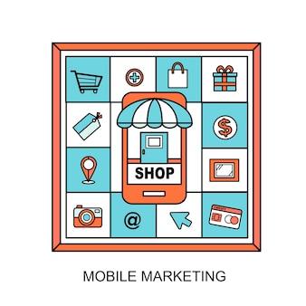 Концепция мобильного маркетинга: элементы, связанные с покупками, в стиле линии