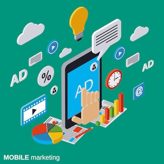 Mobile marketing flat isometric vector concept illustration